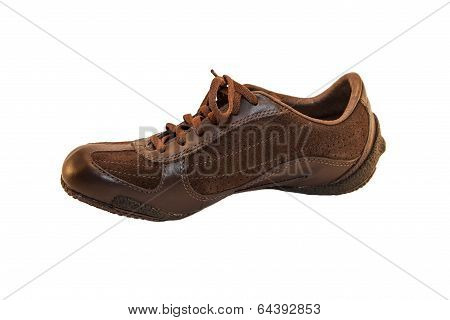 Isolated Picture Of A Modern Brown Sports Shoe