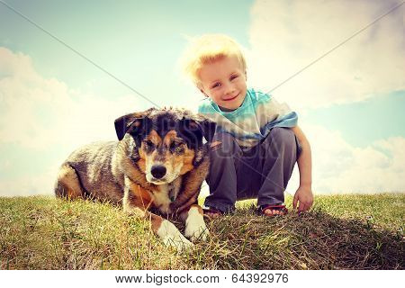 Young Child Outside With His Dog, Vintage Style