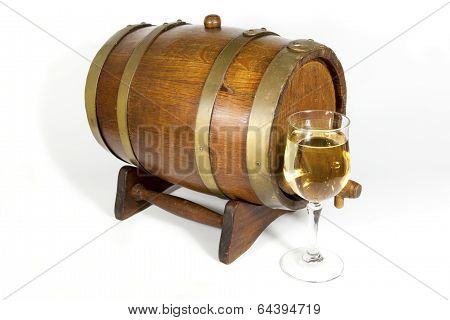 Wooden Oak Cask With Glass Of White Wine