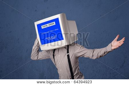 Person with a monitor head and fatal error blue screen on the display