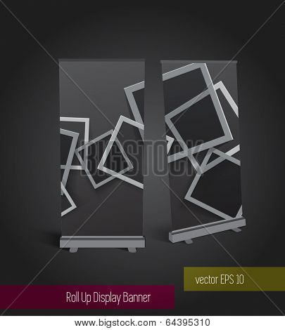 Roll up banner display template for designers