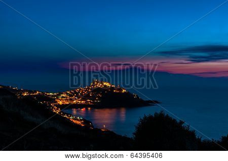 Landscape Of Castelsardo By Night