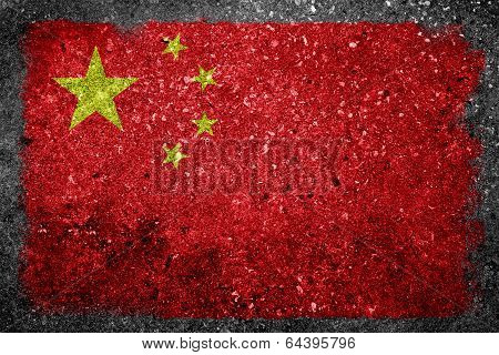 Chinese Flag Painted On Concrete