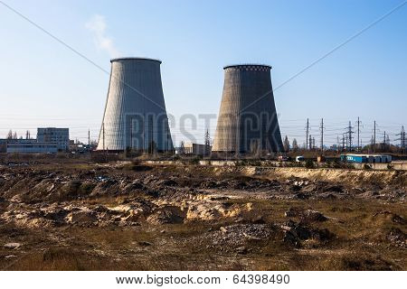Cooling Towers Of The Cogeneration Plant Near Kyiv, Ukraine