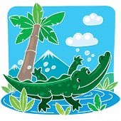 picture of alligator baby  - Children vector illustration of little funny crocodile  - JPG