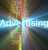 stock photo of mass media  - Word cloud concept illustration of media advertising glowing light effect - JPG