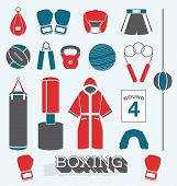 foto of heavy bag  - Collection of boxing related icons and silhouettes - JPG