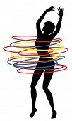 pic of hulahoop  - Illustration of a sexy woman exercising with many hula hoops - JPG