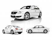 stock photo of motor vehicles  - Three Dimensional Image of a White Car - JPG