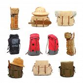 stock photo of carry-on luggage  - Travel bags and backpacks for leisure activities - JPG