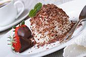 stock photo of panna  - Italian dessert panna cotta with grated dark chocolate and strawberries close - JPG