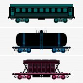 image of railcar  - Set of Railroad cars on grey background - JPG