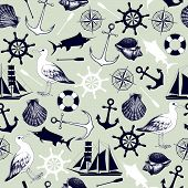 image of albatross  - Vector seamless pattern with decorative sea elements and hand drawn sea illustrations - JPG