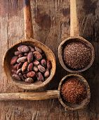 picture of chocolate spoon  - cocoa beans - JPG
