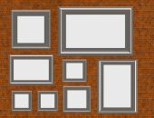 Brick Wall Display With Collection Of Frames