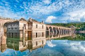 picture of dam  - The dam on the lake omodeo in a sunny afternoon Sardinia  - JPG