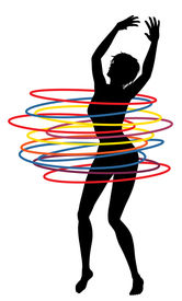 image of hulahoop  - Illustration of a sexy woman exercising with many hula hoops - JPG
