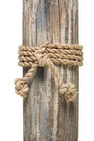 stock photo of sloop  - wrapped rope on wood over white background - JPG