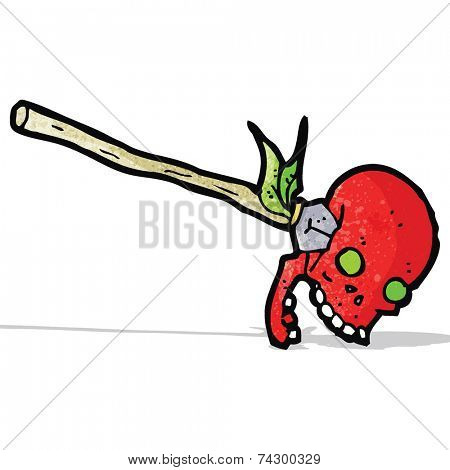 cartoon spear in skull