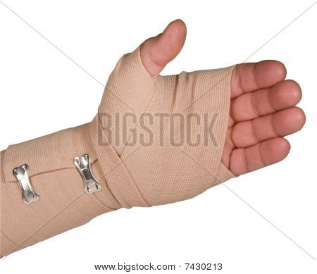 Ace Bandage On Left Hand With Path Isolated