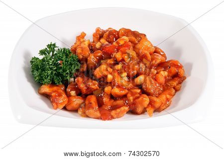 Pork In Sweet And Sour Sauce With Pineapple, On White.