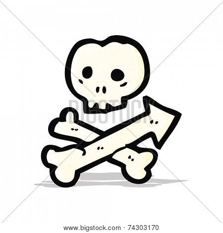 cartoon skull and crossbones arrow symbol