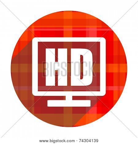 hd display red flat icon isolated