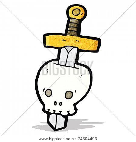 dagger in skull cartoon tattoo