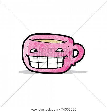 cartoon grinning coffee mug