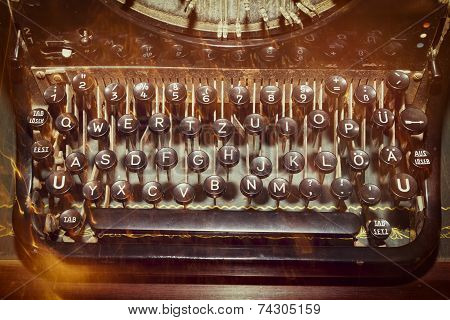 antique typewriter keys, shallow focus