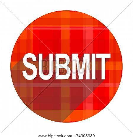 submit red flat icon isolated
