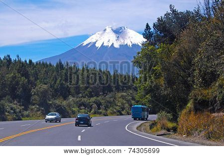 View of a highway surrounded by trees and a volcano