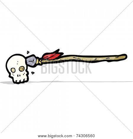 cartoon tribal spear with skull