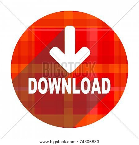 download red flat icon isolated