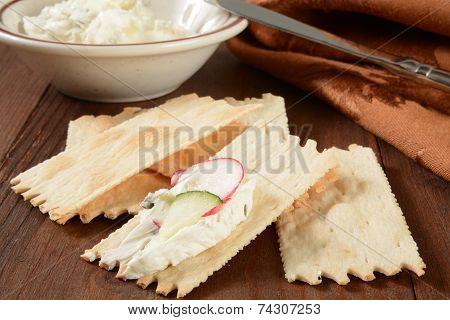Flatbread Crackers With Cream Cheese