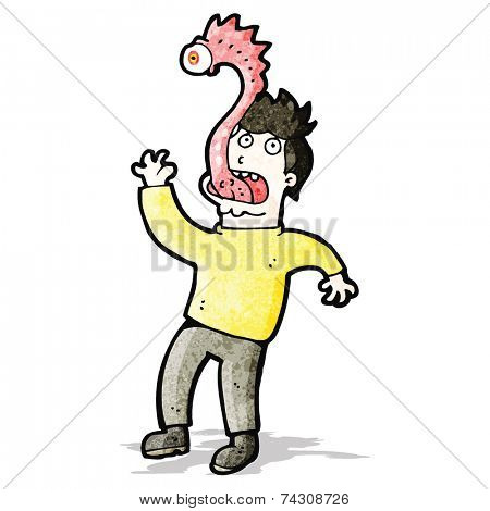 cartoon man with alien parasite