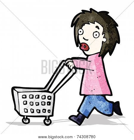 cartoon woman pushing trolley