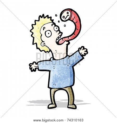 cartoon man with parasite