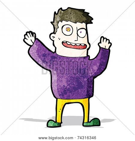 cartoon hallucinating man