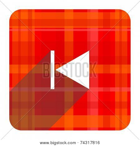 prev red flat icon isolated