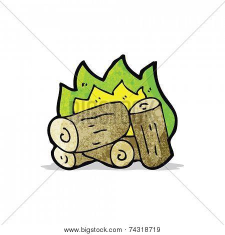 cartoon spooky campfire