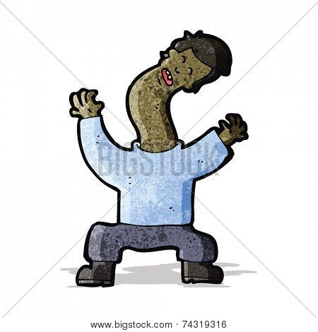 cartoon man with bent neck
