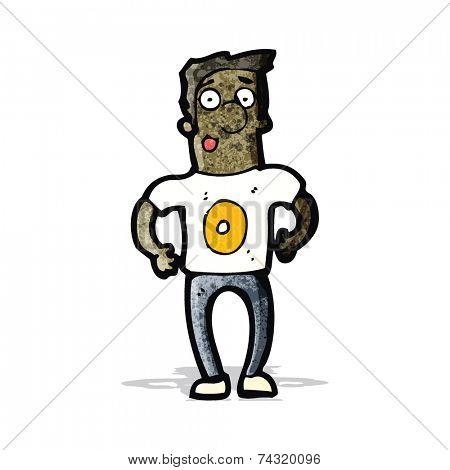 cartoon man in shirt with number zero