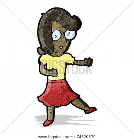 cartoon woman with spectacles