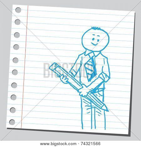 Businessman with big pencil