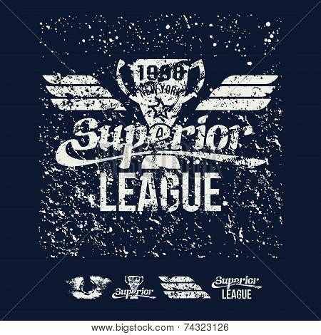 College Rugby Superior League Retro Emblem And Design Elements.