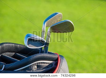 Golf club. Bag with golf clubs