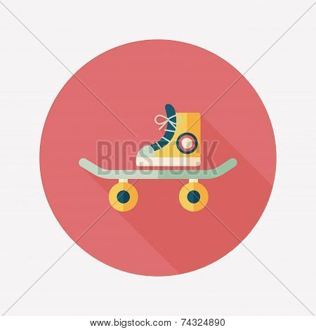 Skateboard Flat Icon With Long Shadow