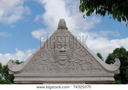 bas relief at the top of gate in taman sari water castle - the royal garden of sultanate of jogjakar