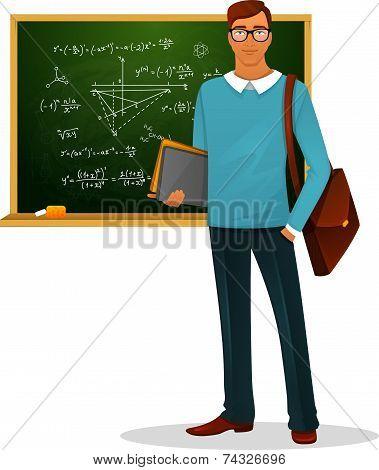Male teacher with blackboard